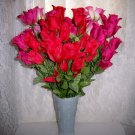 "Red/Pink Roses Together In White 7"" Glass Vase BNK2420"