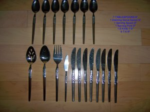 Silver Ware Set Sterling Silver W Wood Handles BNK2156