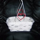 "White Wicker Finished Basket 7""x4""w 7""Rope&HeartHandle BNK2823"