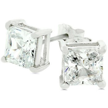 Princess Cut Sterling Silver Stud Earrings