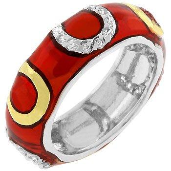 Red Horseshoe Enamel Ring