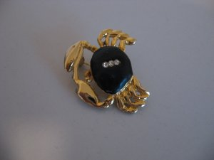 Gold Tone Crab Brooch