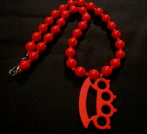 Red Beads Knuckles Punk Necklace
