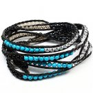 Wrap Bracelet Turquoise Black Leather