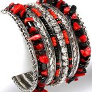 Black Red Rhinestone Crystal Multi Bangle Bracelet