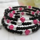 Black and Pink Wrap Bracelet