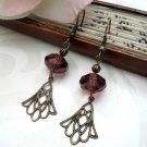 Filigree Antique Brass Purple Crystal Dangle Earrings