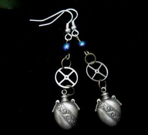 Steampunk Perfume Bottle Earrings