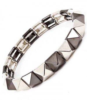 Pyramid Spike Two Tone Bracelet