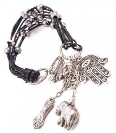 Multi Strand Hamsa Hand Leather Bracelet