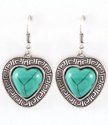 Turquoise Heart Dangle Earrings
