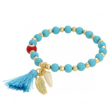 Turquoise Tassel Evil Eye Feather Bracelet