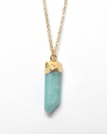 Turquoise Blue Stone Crystal Point Necklace