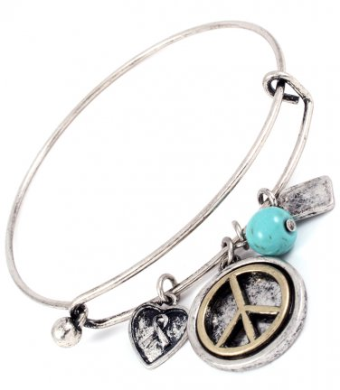 Peace Sign Charm & Turquoise Hinge Latch Bangle Bracelet