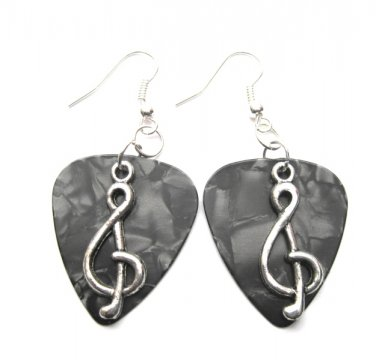 Guitar Pick Treble Clef Dangle Earrings
