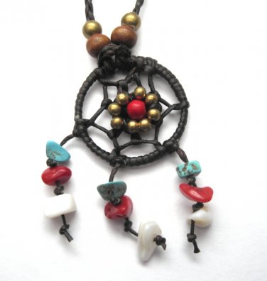 Dream Catcher Braided Leather Necklace