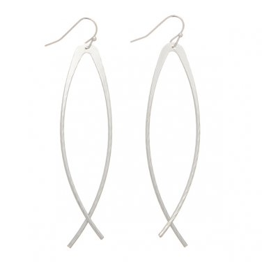 Long Ichthus Fish Faith Dangle Earrings