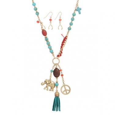 Elephant Beaded Turquoise Tassel Long Boho Necklace