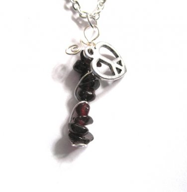 Peace and Love Garnet Necklace