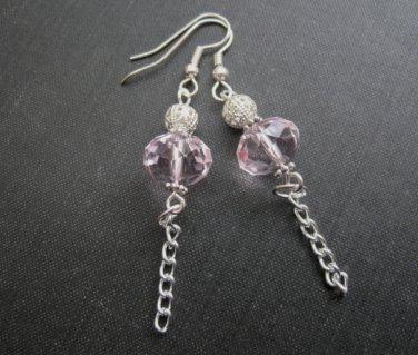Pink Crystal Filigree Bead Dangle Earrings