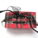 Red Plaid Punk Rock Bracelet