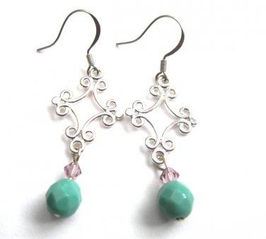 Filigree Chandelier Turquoise Dangle Earrings