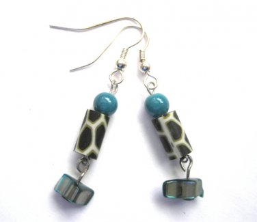 Animal Print Turquoise Abalone Earrings