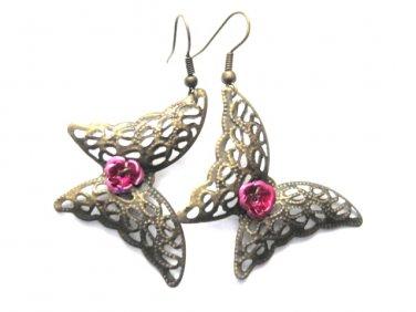 Filigree Brass Butterfly Pink Rose Earrings