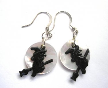 Mother of Pearl Moon Witch Dangle Earrings