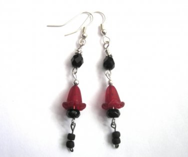 Red Lily Black Dangle Gothic Earrings
