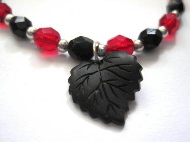 Black Leaf Gothic Bracelet, Red and Black