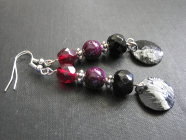 Black Mother of Pearl Gothic Colors Red Black Purple Dangle Earrings