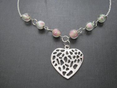 Heart and Pink Roses Love Necklace