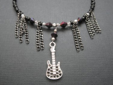 Rock Guitar Fringe Chain Beaded Choker