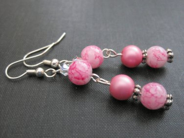 Pink Drop Dangle Earrings