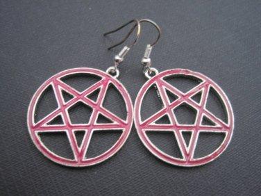 Pentagram Pink Earrings