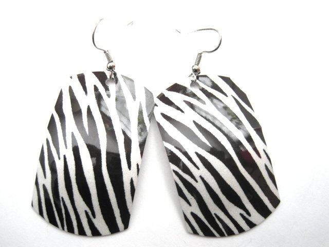 Zebra Rocker Rectangle Dangle Earrings