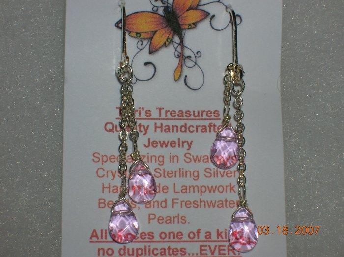 Pink Briolette Glass Bead Dangle Earrings