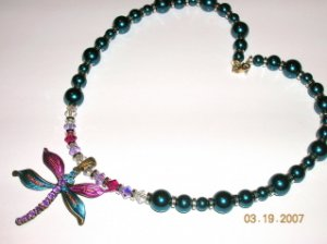 Teal Swarovski Pearl Necklace with Sterling Silver, Swarovski Crystals, and a Dragonfly Pendant