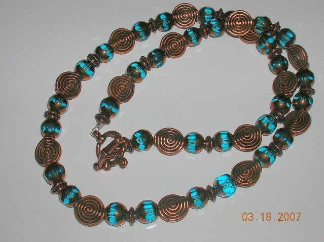 Copper and Aqua Necklace. Very Different. Baroque Looking