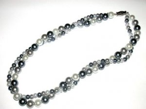 2 Strand Pearl Necklace in Grays and White. Elegant
