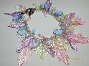 Charm Bracelet Loaded with Pastel Leaves. Great For Spring.