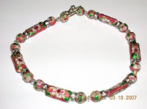 Pink Cloisonne Bead Anklet with Swarovski Crystals