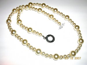 Cream Swarovski Pearl Necklace with Toggle Clasp