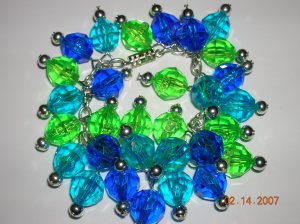 Charm Bracelet in Blues and Greens. Fun and Fresh