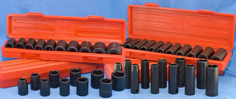 "1/2"" Impact Socket Set Metric SAE Shallow & Deep 46-pc"