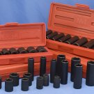 "Impact Socket Set 3/8"" SAE Metric 4 pack COMBO 36 pcs"