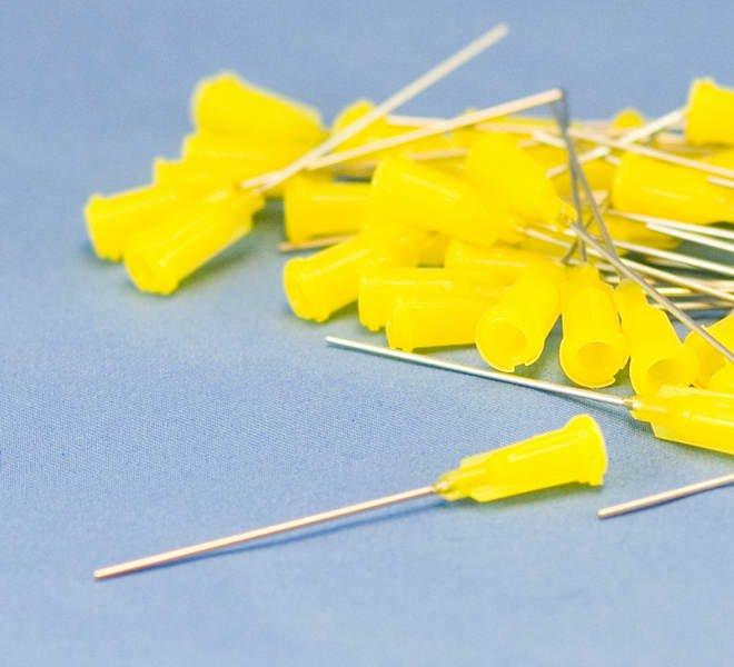 """Dispensing Needle 20ga 0.025id x 1-1/2"""" Tip Yellow 50pc"""