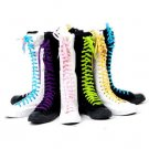 Women shoes PUNK knee high Canvas boots sneakers with multi-color shoes lace