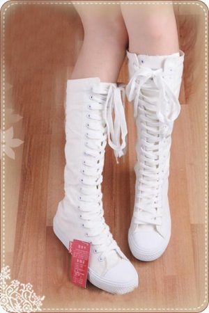 Women shoes  PUNK white canvas boots lace up sneakers knee high